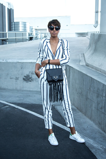 bambis armoire blogger tailoring stripes zara bag jewels
