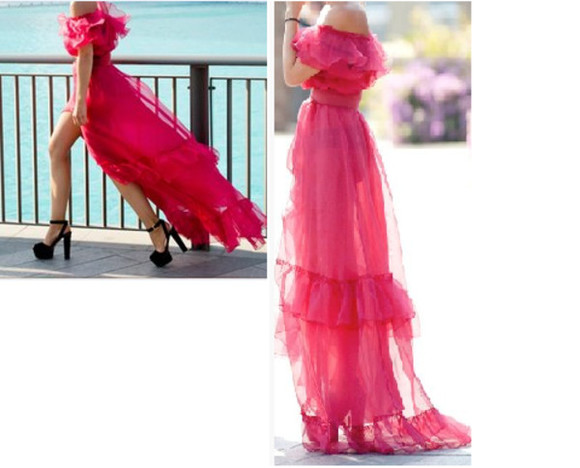 slits pink dress prom ruffle off the shoulder dress chiffon beautiful amazing inspo