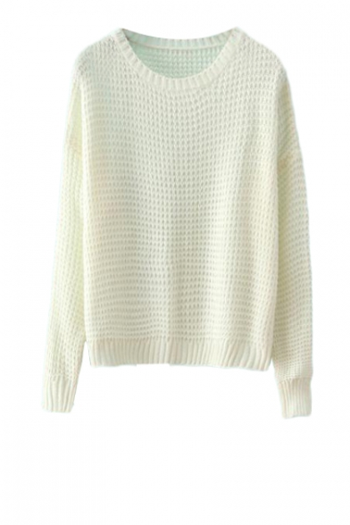 Cable knit round neck long sleeve sweater