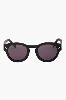 Kenzo Matte Black Round Sunglasses for men | SSENSE