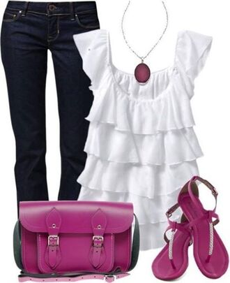 necklace shirt white jeans purse sandals purple ruffle