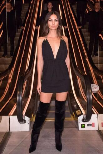 dress mini dress nyfw 2017 ny fashion week 2017 boots over the knee over the knee boots black dress plunge dress plunge v neck lily aldridge model off-duty