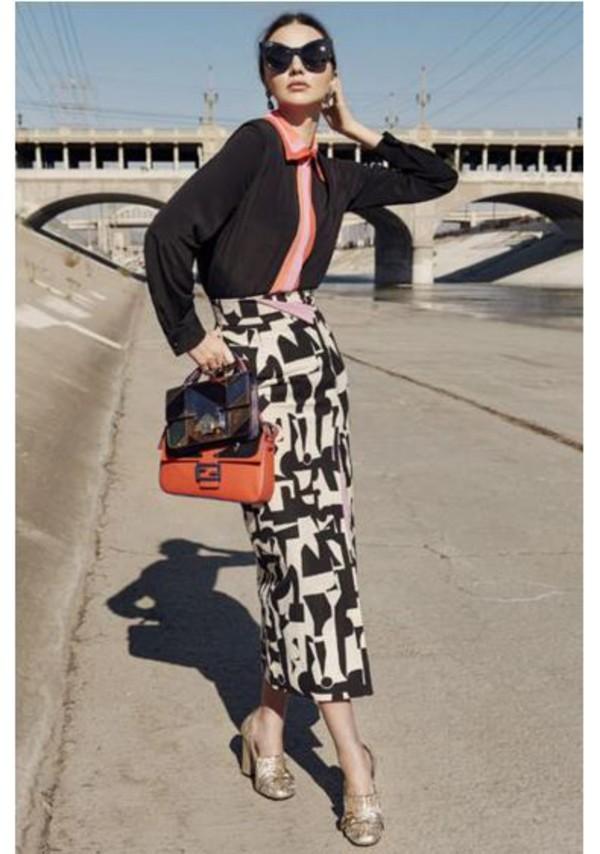 d1a9afd90502 skirt midi skirt miranda kerr blouse purse sunglasses editorial.