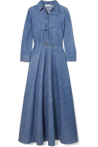 dress midi dress denim embroidered midi cotton