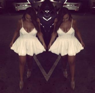 dress sundress white dress white v neck dress deep v neck dress deep cut blouse