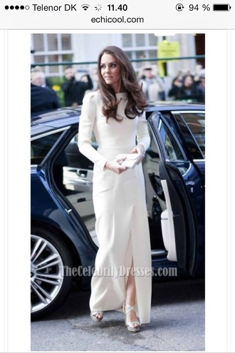 dress lovely white champagn dress kate middleton lol sleeve kom maxi dress simple and sexy