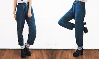 jeans 90s style high-waist denim grunge high waisted jeans baggy pants