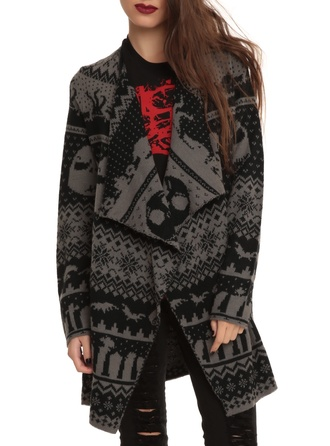 cardigan black gray nightmare before christmas christmas goth