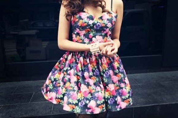 dress bustier dress floral dress pink blue pretty girly short dress short green tub girly outfits tumblr curly hair brunette navyblue tumblr beautiful adorable gorgeous outfit