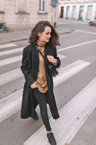 coat tumblr black coat black long coat long coat denim jeans black jeans sweater nude sweater turtleneck turtleneck sweater shoes black shoes