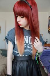 shirt,skater skirt,headband,spiked headband,skirt,jewels
