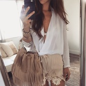 bag,shorts,summer,pretty,classy,blouse,lace,beige,style,t-shirt