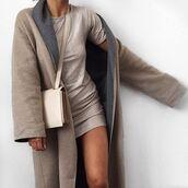 dress,tumblr,coat,grey coat,long coat,bag,white bag,silver dress,mini dress