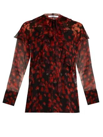 blouse chiffon blouse chiffon floral print red top