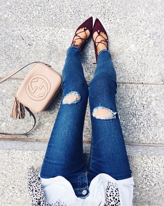 southern curls and pearls blogger jeans leggings ripped jeans burgundy burgundy shoes lace up lace up heels gucci nude bag shoulder bag gucci bag strappy shoes