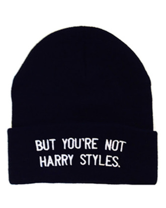 black and white one direction quote on it harry styles beanie