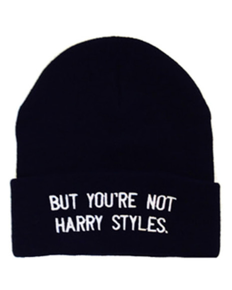 harry styles one direction beanie quote on it black and white