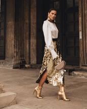 skirt,sequin skirt,midi skirt,wrap skirt,boots,ankle boots,high waisted skirt,handbag,white shirt,earrings
