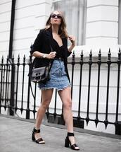 top,tumblr,black top,camisole,skirt,mini skirt,denim,denim skirt,sandals,sandal heels,high heel sandals,black sandals,bag,embellished skirt,embellished,black blazer,blazer,jacket,shoes