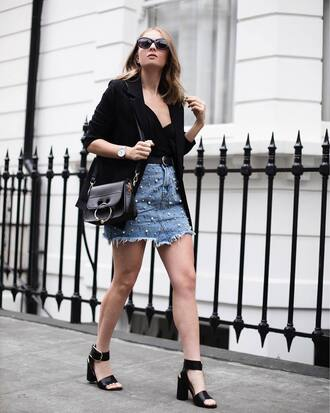 top tumblr black top camisole skirt mini skirt denim denim skirt sandals sandal heels high heel sandals black sandals bag embellished skirt embellished black blazer blazer jacket shoes