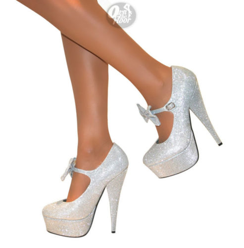 WOMENS MARY JANE BOW PLATFORM HIGH HEELS GLITTER STILETTO PARTY COURT SHOES SIZE | eBay