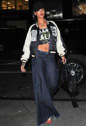 jeans,rihanna,crop tops,jacket,bag,top