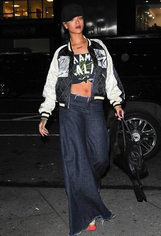 jeans rihanna crop tops jacket bag top