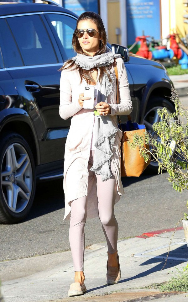 scarf flats shoes alessandra ambrosio bag cardigan
