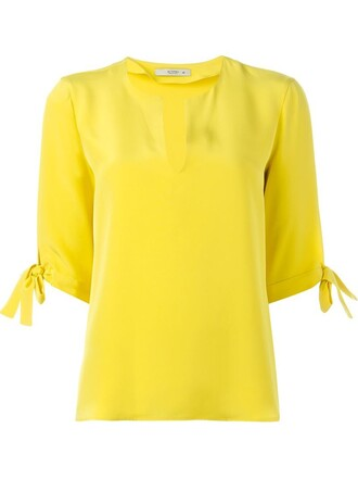 blouse women silk yellow orange top