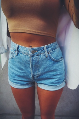 shorts high waisted shorts tumblr girly clothes summer top brown blue brown top brown crop tops style blue shorts tumblr shorts tumblr outfit crop tops blue high waisted shorts fashion