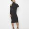 Cold shoulder ribbed knit turtleneck midi dress in black at flyjane