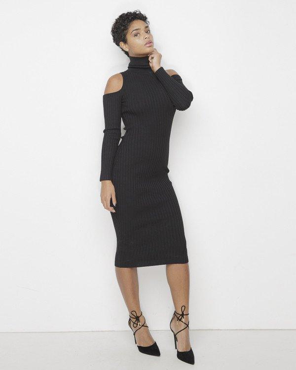 1e48220cd1aa COLD SHOULDER Ribbed Knit Turtleneck Midi Dress in Black at ...