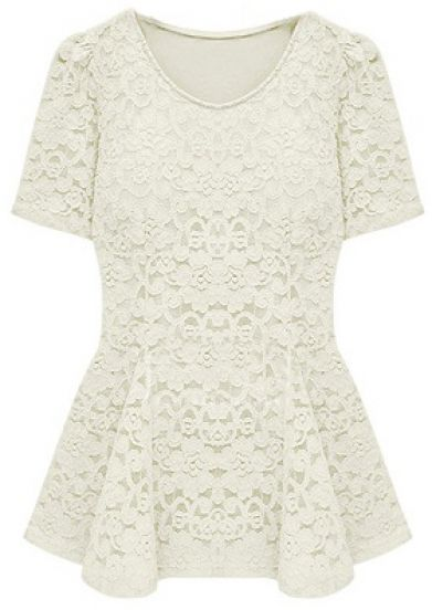 Beige Short Sleeve Crochet Lace Peplum Top - Sheinside.com