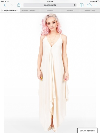 dress beige dress trapeze dress super soft trapeze dress
