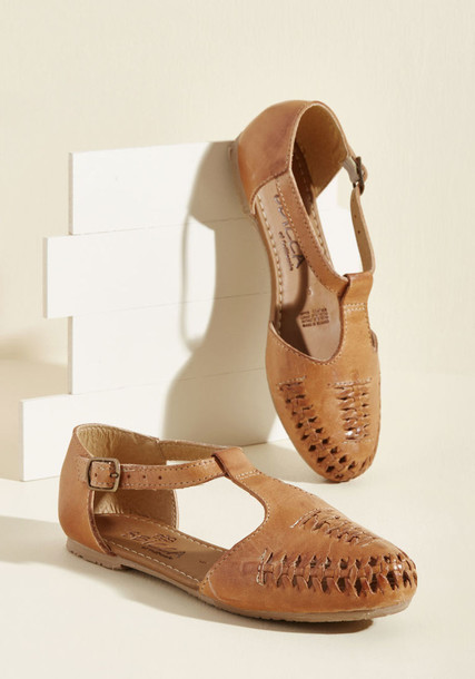 Whipped straps street tan flats leather flats leather brown shoes