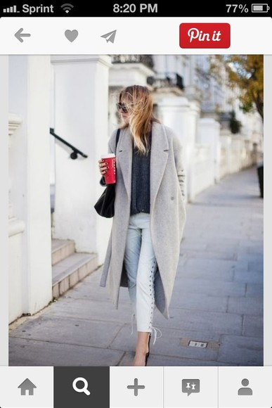 grey coat long coat