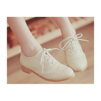 shoes cream brogue shoes