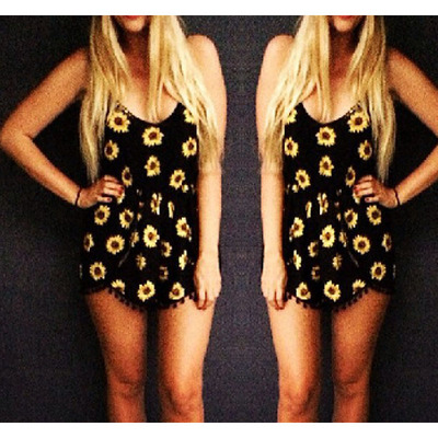 Sexy waist lace design sunflower print piece shorts · fe clothing · online store powered by storenvy