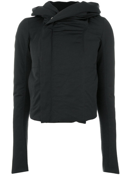 Rick Owens jacket hooded jacket women cotton black wool