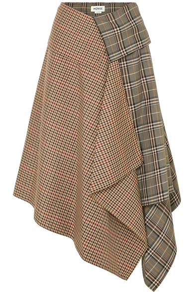 Monse - Asymmetric paneled checked wool-blend midi skirt