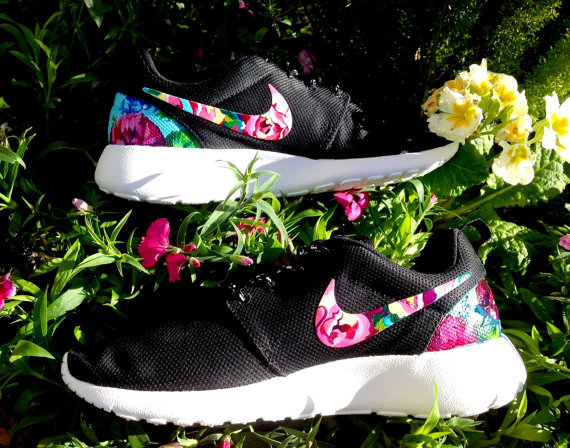 Customized floral nike roshe runs by artsysole45 on etsy