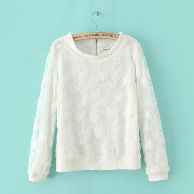 Floral lace white shirt