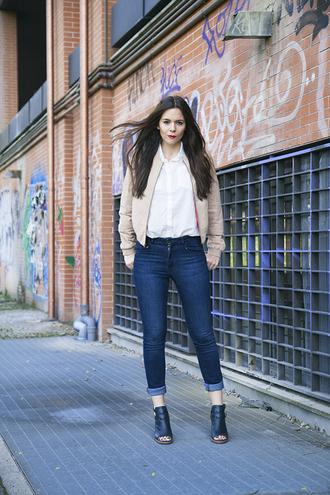 irene closet blogger jeans baseball jacket pink jacket white shirt