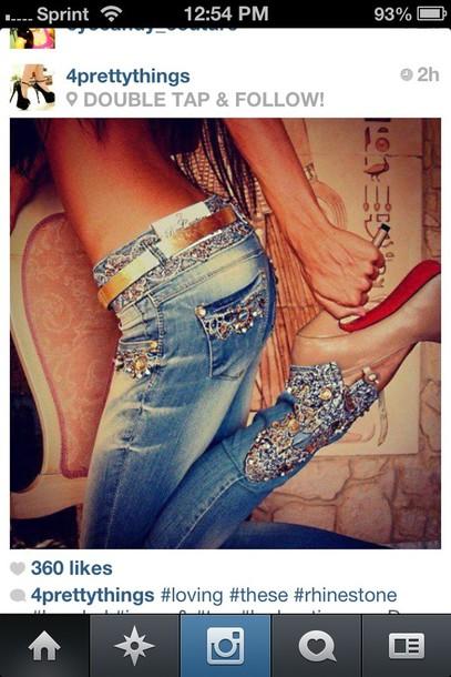 jeans rhinestones beaded skinny jeans blue shoes instagram