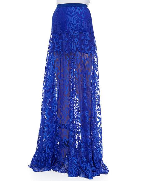 skirt blue skirt blue lace maxi skirt lace skirt sheer
