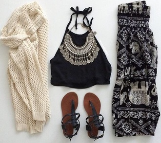 pants black white elephant tribal pattern cute pretty boho chic boho dress chic summer top top jewels shoes cardigan summer outfits shirt jacket boho indie boho boho pants boho pants black and white sweater coin necklace necklace sandals black and white harem pants hippie baggy pants boho pattern pants