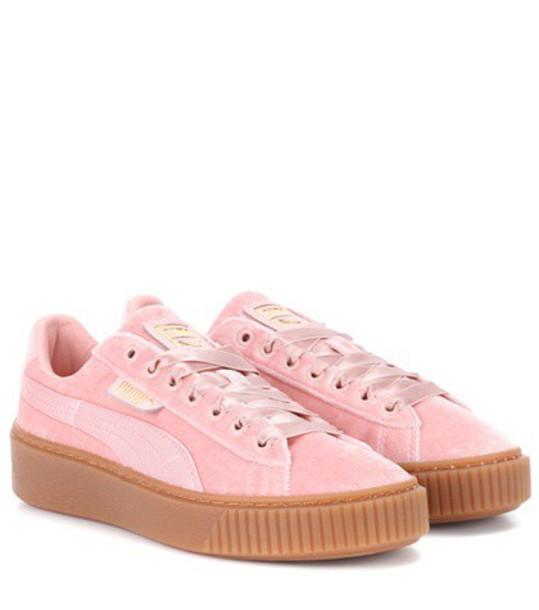 sneakers velvet pink shoes