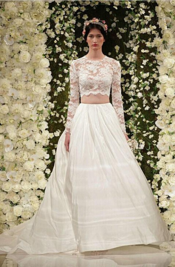Dress 2015 Wedding Dresses Two Piece Prom Ball Gown Sheer Long Sleeves 2014 Bridal Gowns