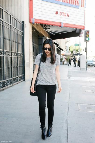 andy heart shirt sunglasses shoes bag jeans