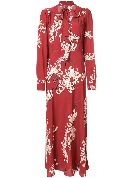 McQ Alexander McQueen dress print dress bow women floral print red